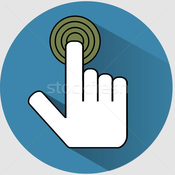 Handclick icon flat Stock photo © BoogieMan