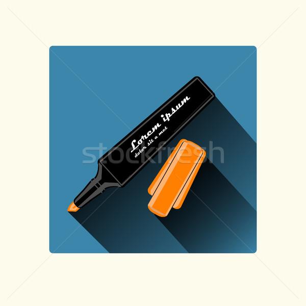 Сток-фото: маркер · дизайна · оранжевый · Cap · долго · тень