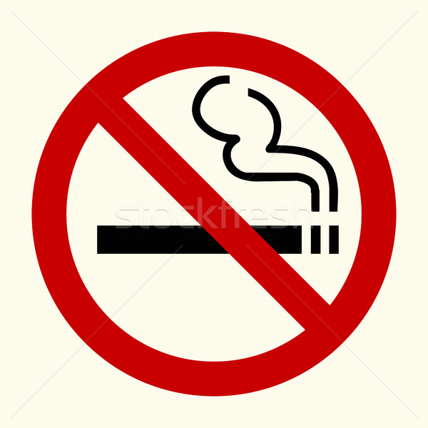 Dohányozni tilos felirat piros kör vektor dohányzás Stock fotó © BoogieMan