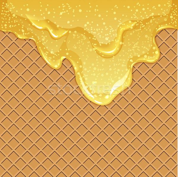 Waffle background with honey Stock photo © BoogieMan