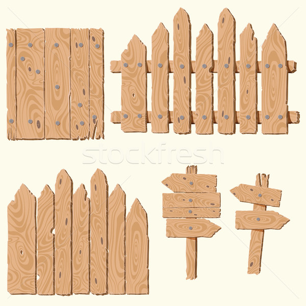 set of wooden planks Stock photo © BoogieMan