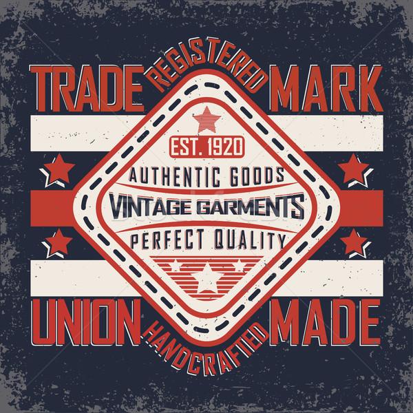 Denim tipografía impresión vintage grunge camiseta Foto stock © BoogieMan