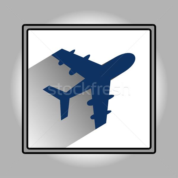 Stock fotó: Repülőgép · ikon · terv · hosszú · árnyék · vektor