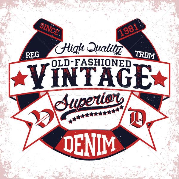 Shirt stampa design vintage etichetta denim Foto d'archivio © BoogieMan