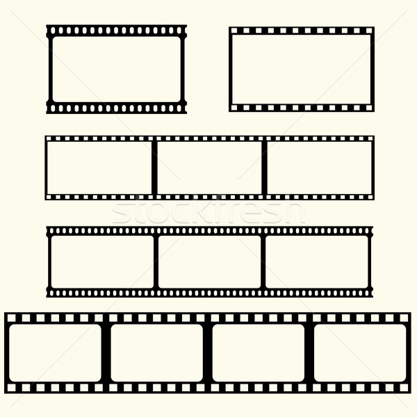 Сток-фото: фильма · лента · набор · вектора · кадр · черный
