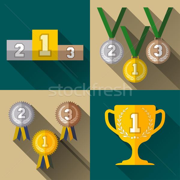 спорт победителем признаков набор икона Кубок Сток-фото © BoogieMan