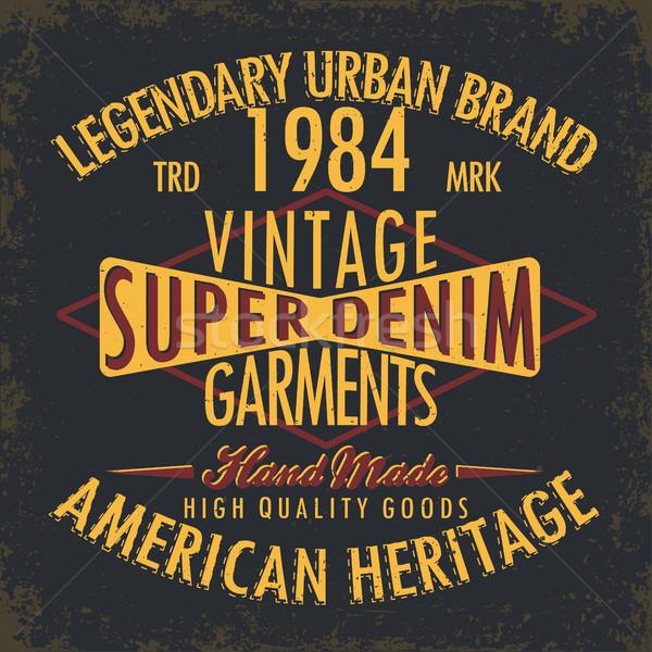 джинсовой типографики печать Vintage Гранж футболки Сток-фото © BoogieMan