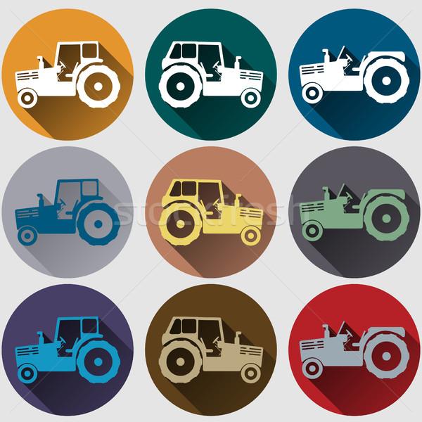 трактора иконки дизайна эмблема долго Сток-фото © BoogieMan