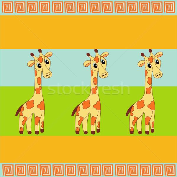 три жираф Cute различный цветами вектора Сток-фото © BoogieMan