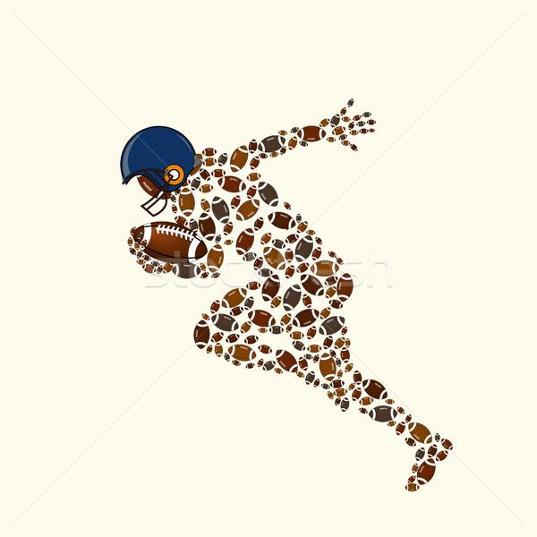 футболист силуэта работает мяча различный цветами Сток-фото © BoogieMan