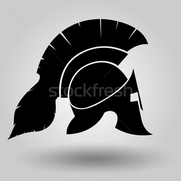 Sisakok sziluett spártai sisak szimbólum gladiátor Stock fotó © BoogieMan