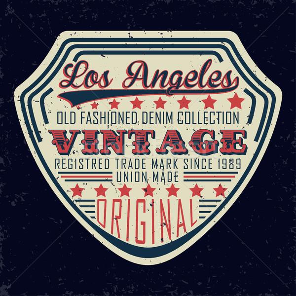 Denim print vintage typografie grunge tshirt Stockfoto © BoogieMan