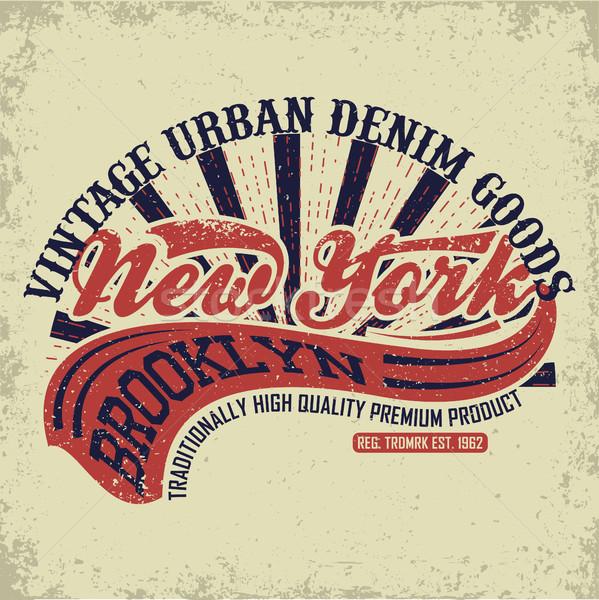 рубашку печать дизайна Vintage джинсовой типографики Сток-фото © BoogieMan