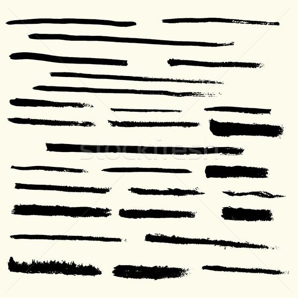 набор черно белые вектора черный чернила падение Сток-фото © BoogieMan