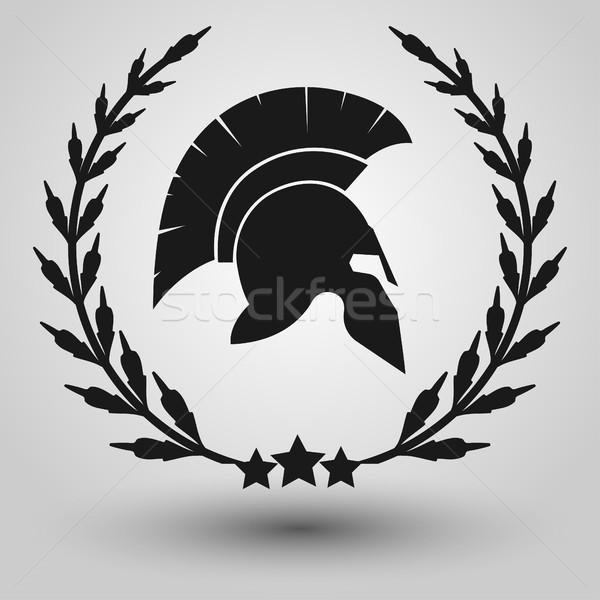 Spartan casque silhouette silhouettes laurier couronne Photo stock © BoogieMan