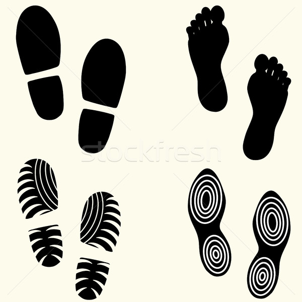 Feet  prints set Stock photo © BoogieMan
