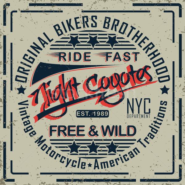 печать дизайна Гранж мотоцикл Vintage графика Сток-фото © BoogieMan