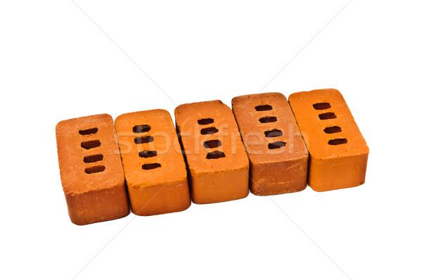 Stockfoto: Klein · bakstenen · bouw · geïsoleerd · witte · achtergrond