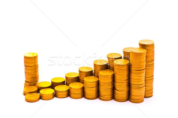 графика монетами изолированный белый деньги дизайна Сток-фото © Borissos