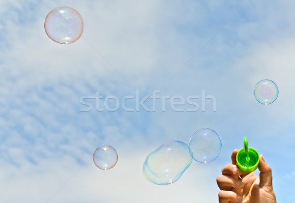 Küçük erkek kabarcıklar gökyüzü mutlu çocuk Stok fotoğraf © Borissos