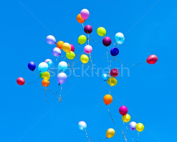 çok balonlar uçmak gökyüzü mavi gökyüzü parti Stok fotoğraf © Borissos