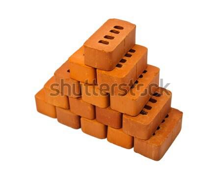 Pequeño ladrillos construcción aislado blanco fondo Foto stock © Borissos