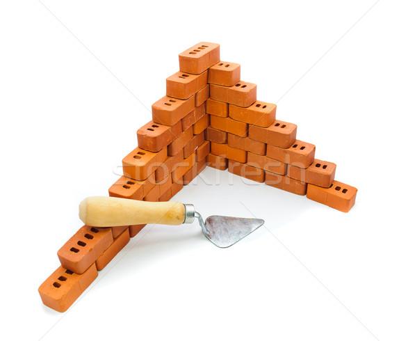 Pequeño ladrillos construcción blanco edificio Foto stock © Borissos