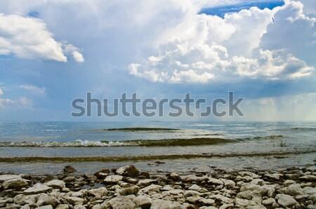 Bulutlar deniz kötü hava gökyüzü arka plan mavi Stok fotoğraf © Borissos