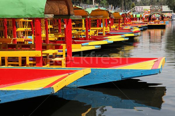 Colorido barcos canal verde azul cor Foto stock © borna_mir