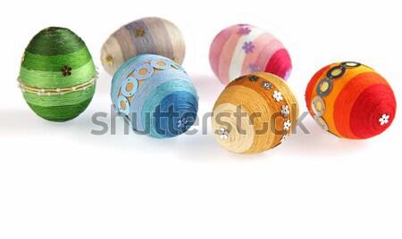 Renkli paskalya yumurtası beyaz izolasyon altı dekore edilmiş Stok fotoğraf © borna_mir