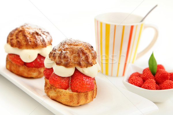 Strawberry pastry and cup of coffee Stock photo © borna_mir