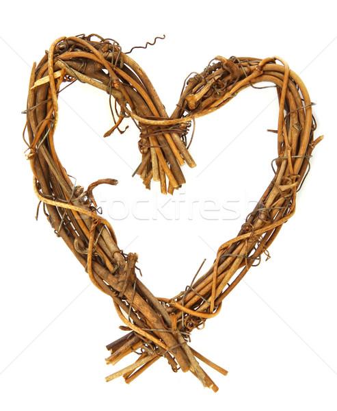 Ahşap kalp yalıtılmış atış el yapımı Stok fotoğraf © borna_mir