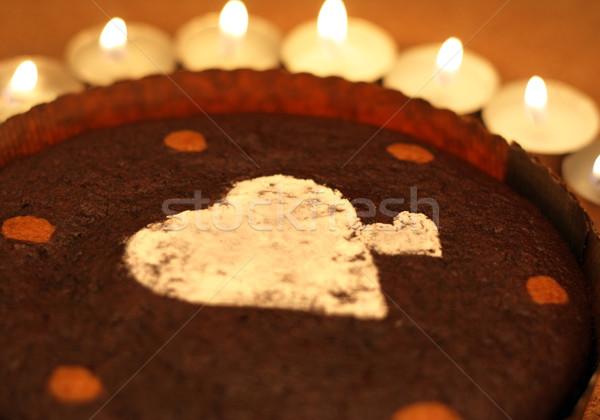 ケーキ キャンドル ブラウニー 装飾された ストックフォト © borna_mir