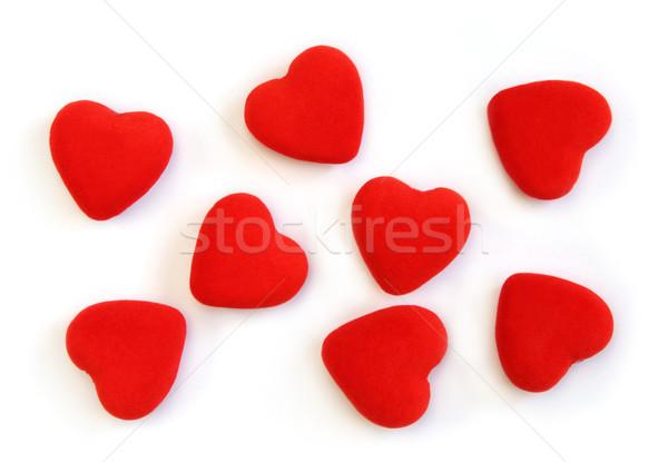 Rojo mullido corazones aislado tiro poco Foto stock © borna_mir