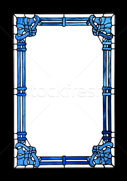 Blue frame with white space and black border Stock photo © borna_mir