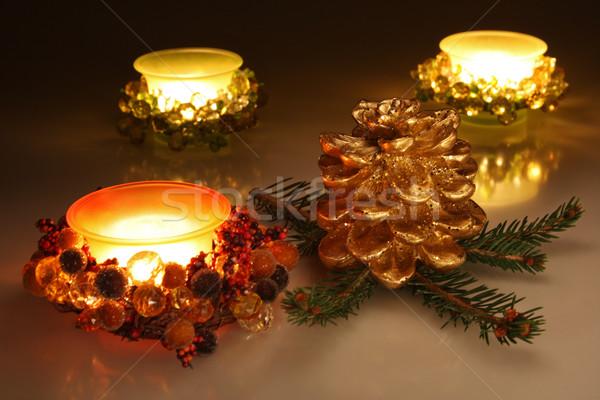 クリスマス キャンドル 松 コーン ストックフォト © borna_mir