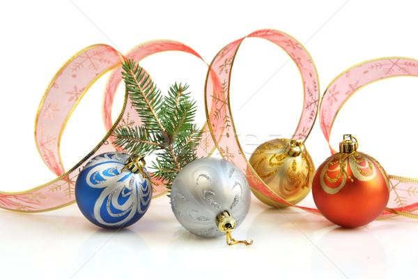 リボン クリスマス カラフル 白 装飾された ストックフォト © borna_mir