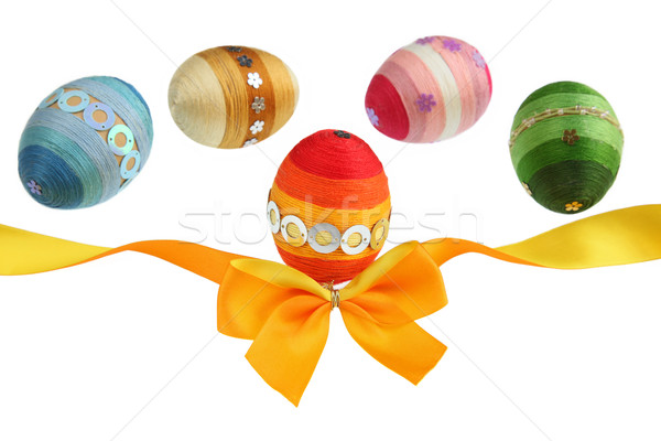 Laranja fita colorido ovos ovos de páscoa branco Foto stock © borna_mir