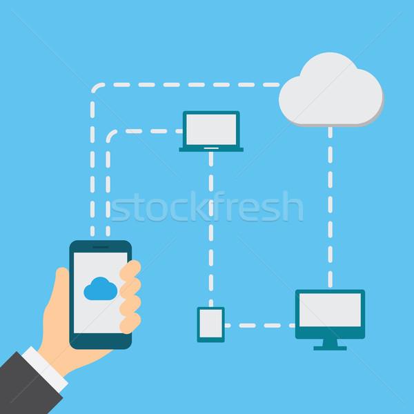 Mão nuvem armazenamento negócio tecnologia Foto stock © borysshevchuk