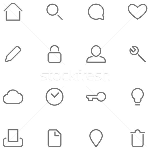 Wektora proste znaki przyciski domu Zdjęcia stock © borysshevchuk