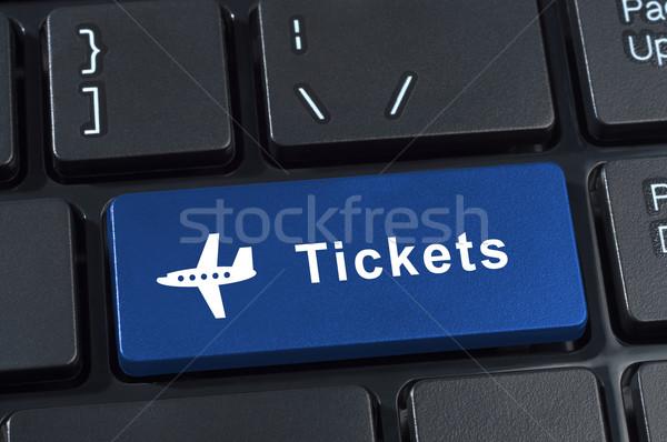 Knop tickets vliegtuig icon internet kopen Stockfoto © borysshevchuk