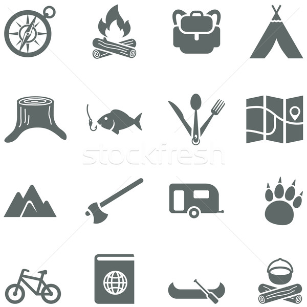 Set of vector icons for tourism, travel and camping. Stock photo © borysshevchuk