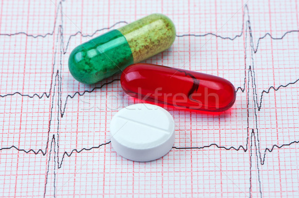 Tablets and capsules for cardiogram heart. Stock photo © borysshevchuk