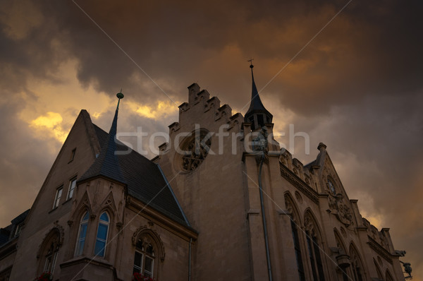Stock photo: Building Gothic style with dark clouds hanging.