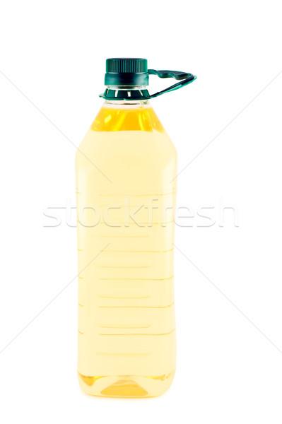 óleo de girassol plástico garrafa isolado branco Óleo Foto stock © borysshevchuk