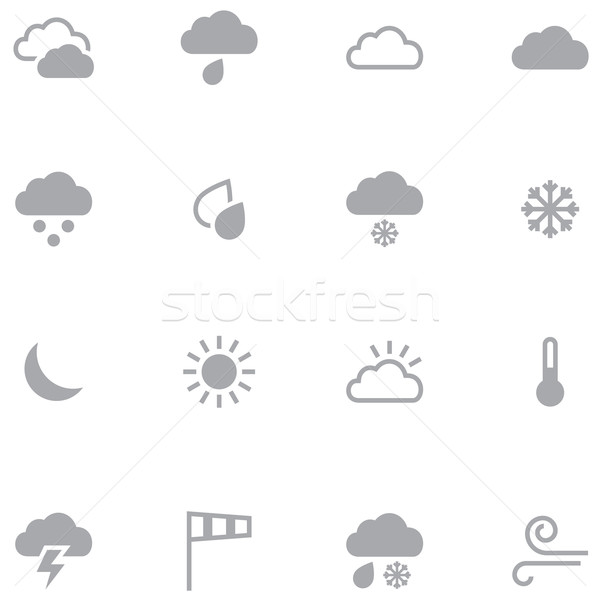 Set of minimalistic weather icons for web and mobile application Stock photo © borysshevchuk