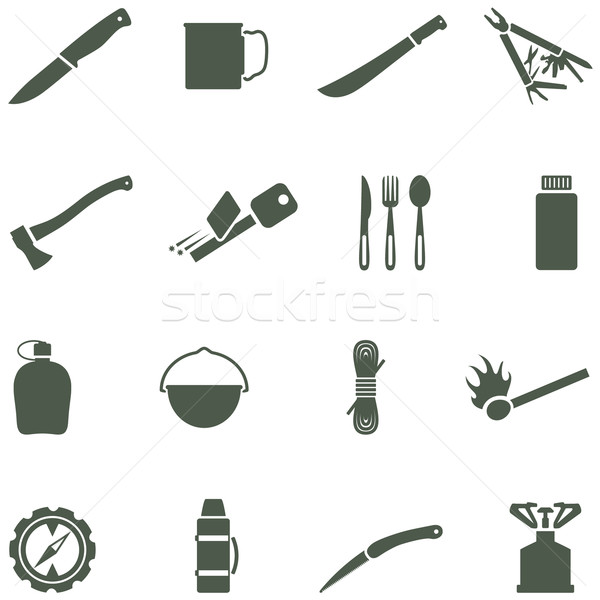 Set of vector icons with camping equipment and accessories. Stock photo © borysshevchuk