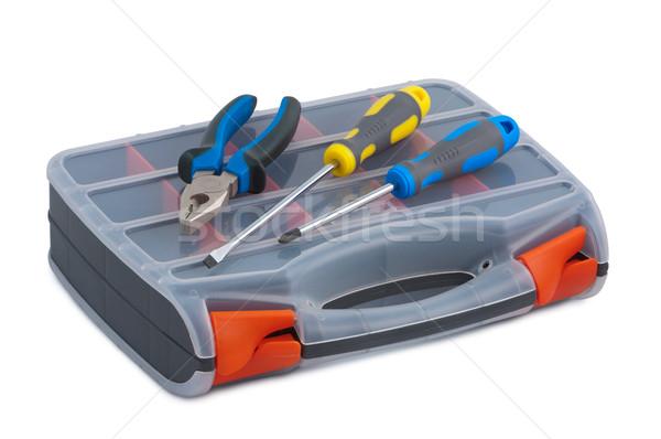 Schraubendreher Kunststoff Werkzeugkasten weiß Hintergrund Job Stock foto © borysshevchuk