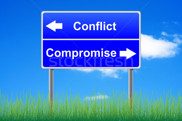 Conflict compromise roadsign on sky background, grass underneath Stock photo © borysshevchuk