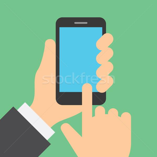 Stockfoto: Vinger · mobiele · telefoon · display · plaatsing